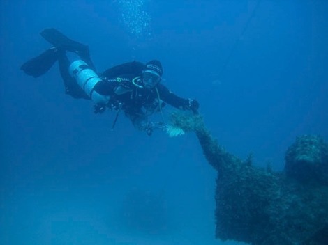Me with the sidemount, breathing from a third stage at the Jesus statue on the return journey from the Imperial Eagle