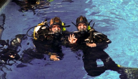 Me and my girlfriend after our trial dive with the Ocean Reef Neptune Space