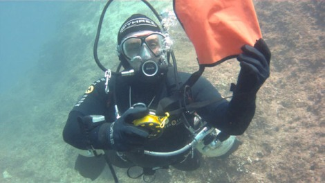 Me about to inflate the SMB. Notice my hoses are too far away from my neck.