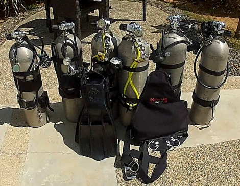 The same number of stages (cylinders) that Alan and I took into the water today.