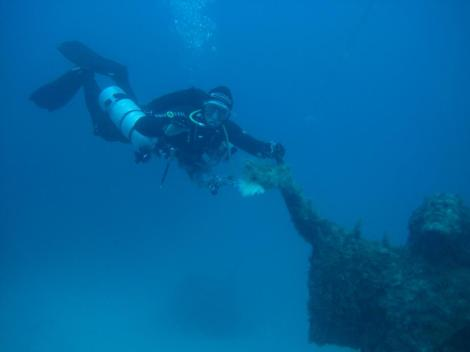 Me diving with the Hollis SMS 50 with an additional stage.