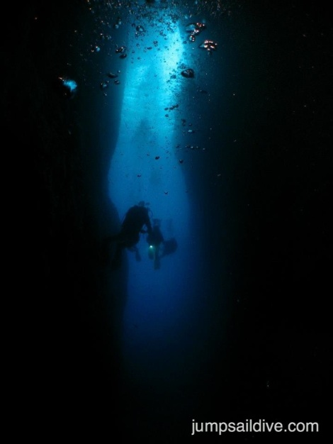The inland sea in Gozo, giant swim-through, cavern or cave?