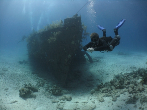 Me demonstrating perfect buoyancy and trim at the James Bond Wrecks
